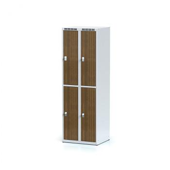 Šatní skříň boxová, bez podnože, svařovaná,  4x ořech dv./korp. šedá, zámek cylindrický, II