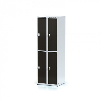 Šatní skříň boxová, bez podnože, svařovaná,  4x wenge dv./korp. šedá, zámek otočný, II