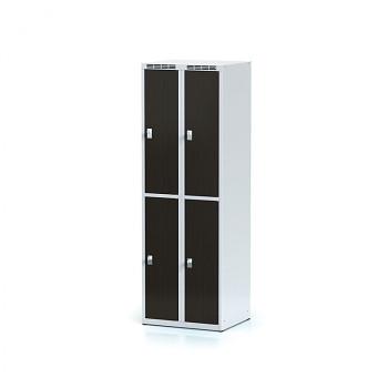 Šatní skříň boxová, bez podnože, svařovaná,  4x wenge dv./korp. šedá, zámek cylindrický, II