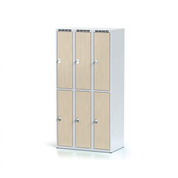 Šatní skříň boxová, bez podnože, svařovaná,  6x bříza dv./korp. šedá, zámek otočný, II