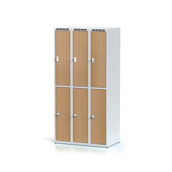Šatní skříň boxová, bez podnože, svařovaná,  6x buk dv./korp. šedá, zámek otočný, II