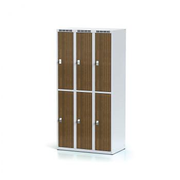 Šatní skříň boxová, bez podnože, svařovaná,  6x ořech dv./korp. šedá, zámek cylindrický, II