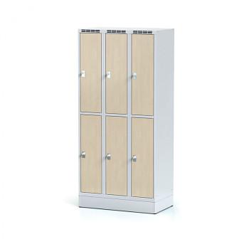 Šatní skříň boxová, sokl, svařovaná,  6x bříza dv./korp. šedá, zámek cylindrický, I