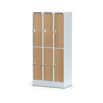 Šatní skříň boxová, sokl, svařovaná,  6x buk dv./korp. šedá, zámek cylindrický, I