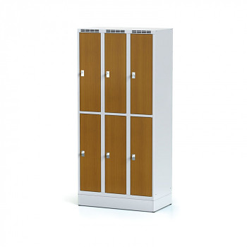 Šatní skříň boxová, sokl, svařovaná,  6x třešeň dv./korp. šedá, zámek cylindrický, I
