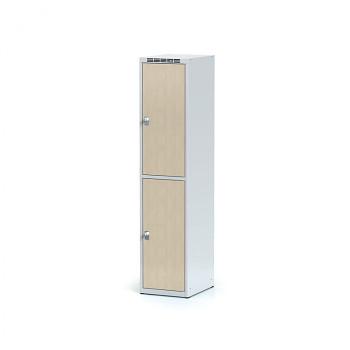 Šatní skříň boxová, bez podnože, svařovaná,  2x bříza dv./korp. šedá, zámek cylindrický