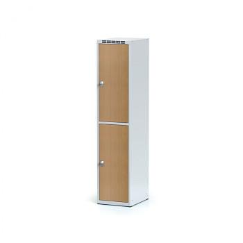 Šatní skříň boxová, bez podnože, svařovaná,  2x buk dv./korp. šedá, zámek cylindrický