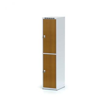 Šatní skříň boxová, bez podnože, svařovaná,  2x třešeň dv./korp. šedá, zámek otočný