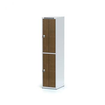 Šatní skříň boxová, bez podnože, svařovaná,  2x ořech dv./korp. šedá, zámek otočný