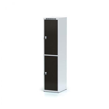 Šatní skříň boxová, bez podnože, svařovaná,  2x wenge dv./korp. šedá, zámek otočný