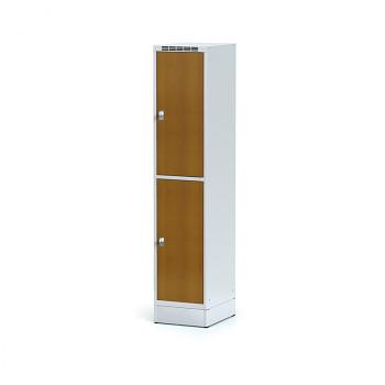 Šatní skříň boxová, sokl, svařovaná,  2x třešeň dv./korp. šedá, zámek cylindrický, I
