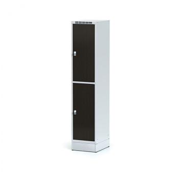 Šatní skříň boxová, sokl, svařovaná,  2x wenge  dv./korp. šedá, zámek cylindrický, I