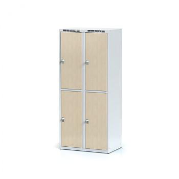 Šatní skříň boxová, bez podnože, svařovaná,  4x bříza dv./korp. šedá, zámek otočný, I