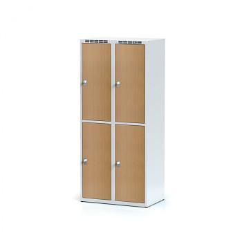 Šatní skříň boxová, bez podnože, svařovaná,  4x buk dv./korp. šedá, zámek cylindrický, I