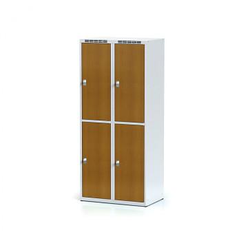 Šatní skříň boxová, bez podnože, svařovaná,  4x třešeň dv./korp. šedá, zámek otočný, I