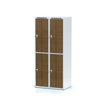 Šatní skříň boxová, bez podnože, svařovaná,  4x ořech dv./korp. šedá, zámek cylindrický, I