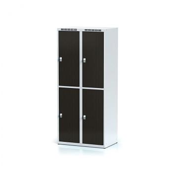 Šatní skříň boxová, bez podnože, svařovaná,  4x wenge dv./korp. šedá, zámek cylindrický, I