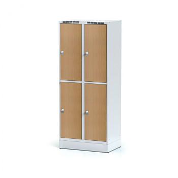 Šatní skříň boxová, sokl, svařovaná,  4x buk dv./korp. šedá, zámek otočný, II