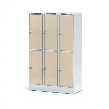 Šatní skříň boxová, sokl, svařovaná,  6x bříza dv./korp. šedá, zámek cylindrický, II
