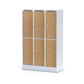Šatní skříň boxová, sokl, svařovaná,  6x buk dv./korp. šedá, zámek otočný, II