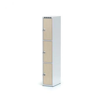 Šatní skříň boxová, bez podnože, svařovaná,  3x bříza dv./korp. šedá, zámek cylindrický
