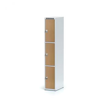 Šatní skříň boxová, bez podnože, svařovaná,  3x buk dv./korp. šedá, zámek otočný