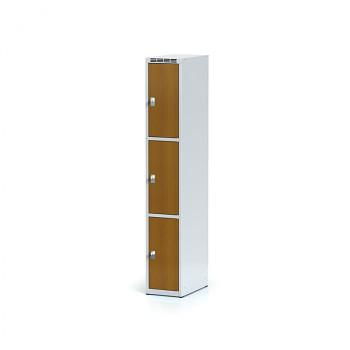 Šatní skříň boxová, bez podnože, svařovaná,  3x třešeň dv./korp. šedá, zámek otočný