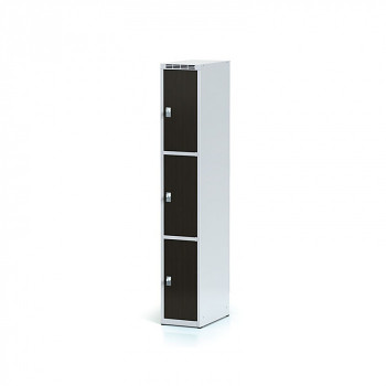 Šatní skříň boxová, bez podnože, svařovaná,  3x wenge dv./korp. šedá, zámek cylindrický
