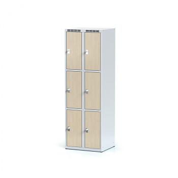 Šatní skříň boxová, bez podnože, svařovaná,  6x bříza dv./korp. šedá, zámek otočný