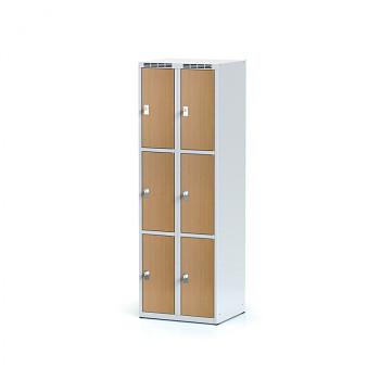 Šatní skříň boxová, bez podnože, svařovaná,  6x buk dv./korp. šedá, zámek cylindrický