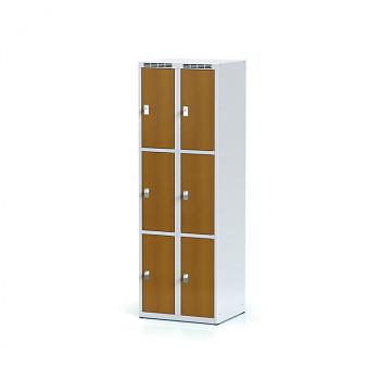 Šatní skříň boxová, bez podnože, svařovaná,  6x třešeň dv./korp. šedá, zámek cylindrický