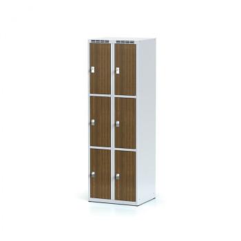 Šatní skříň boxová, bez podnože, svařovaná,  6x ořech dv./korp. šedá, zámek cylindrický