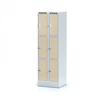Šatní skříň boxová, sokl, svařovaná,  6x bříza dv./korp. šedá, zámek cylindrický