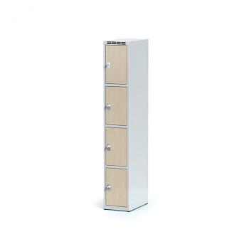 Šatní skříň boxová, bez podnože, svařovaná,  4x bříza dv./korp. šedá, zámek cylindrický