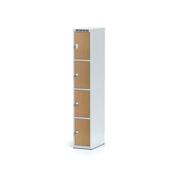 Šatní skříň boxová, bez podnože, svařovaná,  4x buk dv./korp. šedá, zámek cylindrický