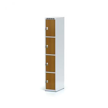 Šatní skříň boxová, bez podnože, svařovaná,  4x třešeň dv./korp. šedá, zámek otočný