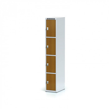 Šatní skříň boxová, bez podnože, svařovaná,  4x třešeň dv./korp. šedá, zámek cylindrický