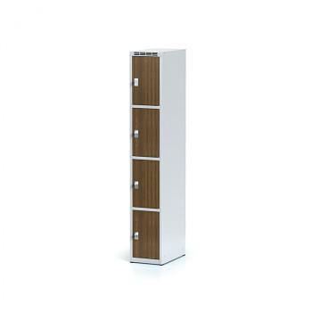 Šatní skříň boxová, bez podnože, svařovaná,  4x ořech dv./korp. šedá, zámek cylindrický