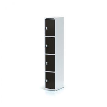Šatní skříň boxová, bez podnože, svařovaná,  4x wenge dv./korp. šedá, zámek otočný