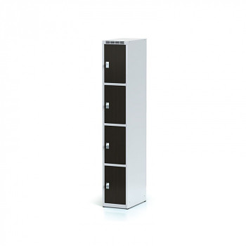 Šatní skříň boxová, bez podnože, svařovaná,  4x wenge dv./korp. šedá, zámek cylindrický