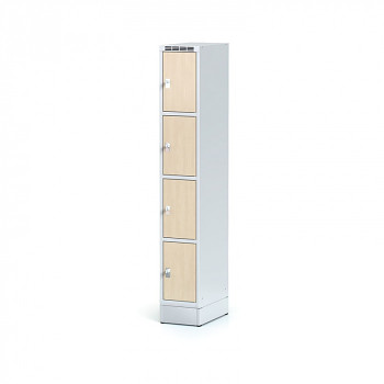 Šatní skříň boxová, sokl, svařovaná,  4x bříza dv./korp. šedá, zámek cylindrický
