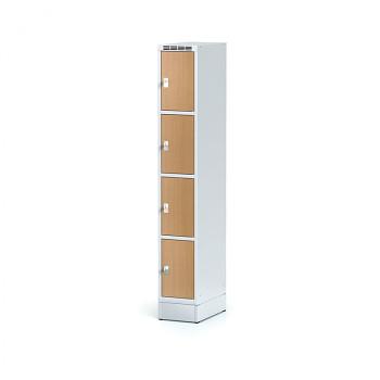 Šatní skříň boxová, sokl, svařovaná,  4x buk dv./korp. šedá, zámek cylindrický
