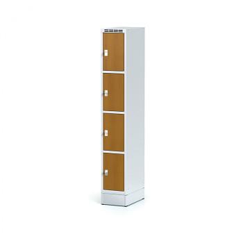 Šatní skříň boxová, sokl, svařovaná,  4x třešeň dv./korp. šedá, zámek cylindrický