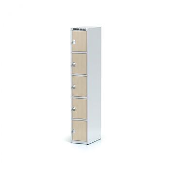 Šatní skříň boxová, bez podnože, svařovaná,  5x bříza dv./korp. šedá, zámek cylindrický