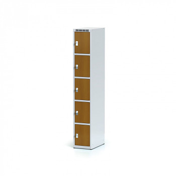 Šatní skříň boxová, bez podnože, svařovaná,  5x třešeň dv./korp. šedá, zámek otočný
