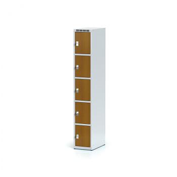 Šatní skříň boxová, bez podnože, svařovaná,  5x třešeň dv./korp. šedá, zámek cylindrický