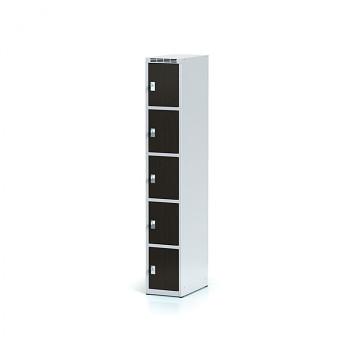 Šatní skříň boxová, bez podnože, svařovaná,  5x wenge dv./korp. šedá, zámek cylindrický