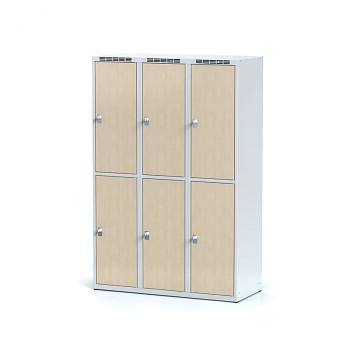Šatní skříň boxová, bez podnože, svařovaná,  6x bříza dv./korp. šedá, zámek otočný, I