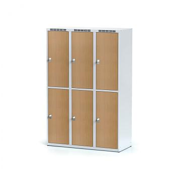 Šatní skříň boxová, bez podnože, svařovaná,  6x buk dv./korp. šedá, zámek cylindrický, I