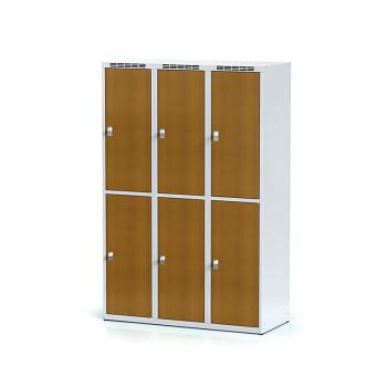 Šatní skříň boxová, bez podnože, svařovaná,  6x třešeň dv./korp. šedá, zámek cylindrický, I